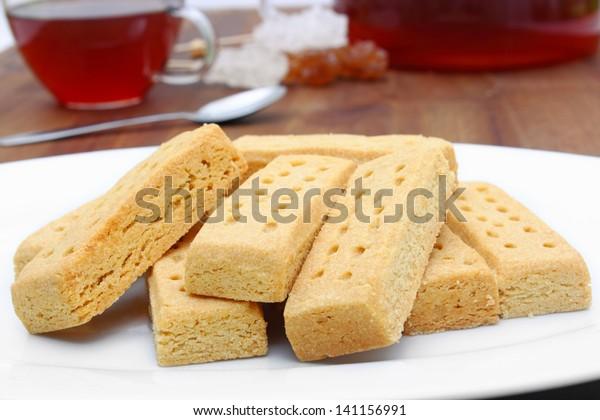 tasty shortbread fingers with black tea.