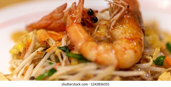 Tasty Shrimp Pad Thai Close-up Thai Street Food