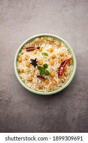 Tasty Spicy Chana Pulao or Pulav or pilaf cooked with Basmati Rice and Chickpeas black or white chickpeas with spices