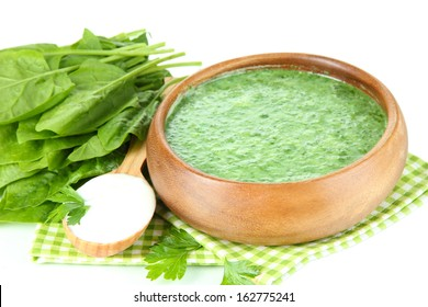 Tasty spinach soup, isolated on white