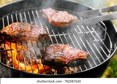 Tasty steaks on barbecue grill, close up