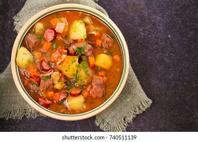Tasty stew. Goulash soup bograch in a bowl. Hungarian dish, view from above, top shot, horizontal