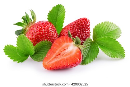 tasty strawberries isolated on the white background