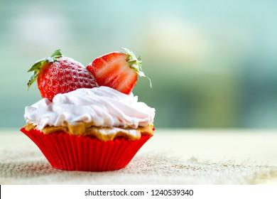 Tasty strawberry cream cake. Pastry. Sweet dessert. Copy space