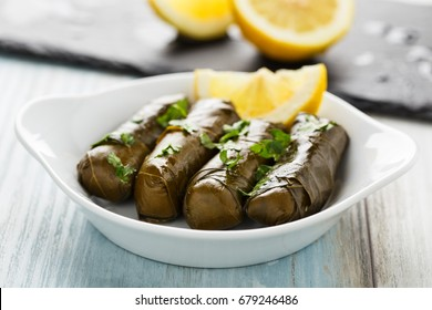 Tasty stuffed vine leaves with lemon and herbs