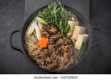 Tasty sukiyaki beef Japanese cuisine