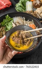 Tasty sukiyaki Japanese cuisine