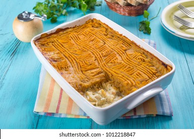 Tasty Swede & Sweet Potato Fish Pie in a Baking Dish.