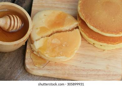 tasty sweet pancake with honey