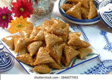 A tasty and sweet plate full of fresh traditional Moroccan handmade Brewat sweets