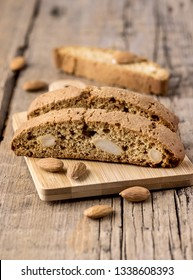 Tasty Traditional Italian Sweets Biscotti or Cantucci on Wooden Background Italian Biscotti for Coffee or Wine Italian Snack Vertical