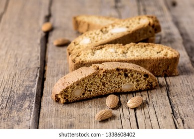 Tasty Traditional Italian Sweets Biscotti or Cantucci on Wooden Background Italian Biscotti for Coffee or Wine Italian Snack Horizontal