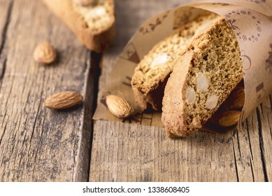 Tasty Traditional Italian Sweets Biscotti or Cantucci on Wooden Background Italian Biscotti for Coffee or Wine Italian Snack Copy Space