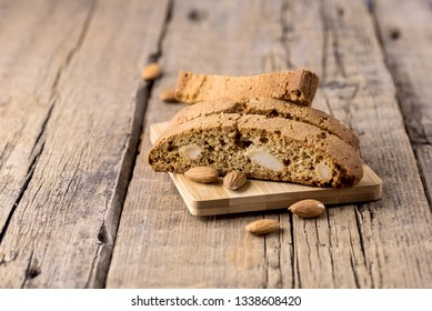 Tasty Traditional Italian Sweets Biscotti or Cantucci on Wooden Background Italian Biscotti for Coffee or Wine Italian Snack Horizontal Copy Space