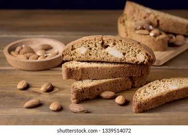 Tasty Traditional Italian Sweets Biscotti or Cantucci on Wooden Background Italian Biscotti for Coffee or Wine Italian Snack