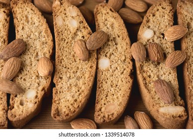 Tasty Traditional Italian Sweets Biscotti or Cantucci on Wooden Background Italian Biscotti for Coffee or Wine Italian Snack Close up