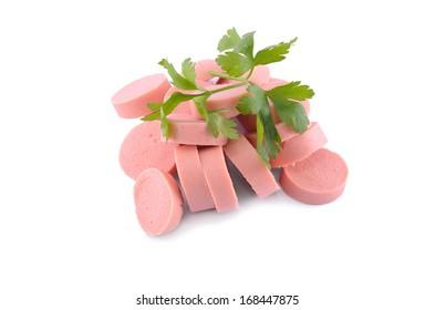 Tasty traditional pork sausages frankfurter snack isolated on white