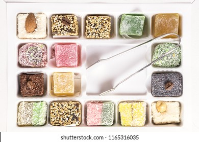 Tasty Turkish Delights Lokum on White Background Dessert Colored Sweets Top View