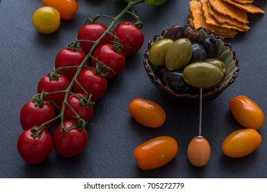 Tasty vegetarian appetizing Top view Food Ingredients Fresh Tomatoes