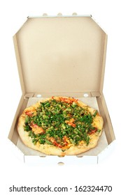 Tasty vegetarian pizza in box, isolated on white