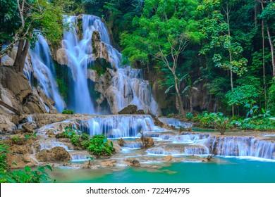 Tat Kuang Si Waterfall or Kuang Si Fall at Luang Prabang, Laos.