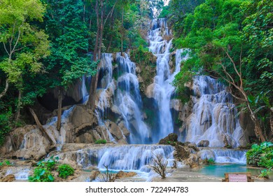 Tat Kuang Si Waterfalls or Kuang Si Falls at Luang Prabang, Laos.