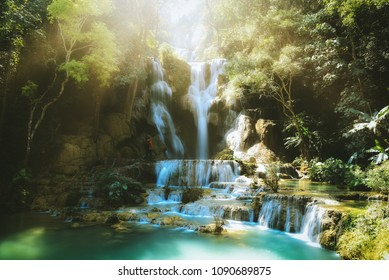 Tat Kuang Si waterfalls at Luangprabang Laos. sunset. Vintage tone