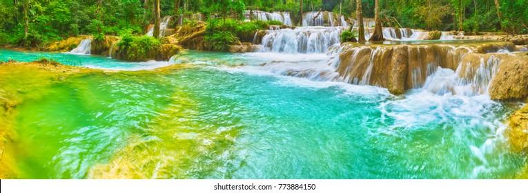 Tat Sae Waterfalls. Beautiful landscape. Luang Prabang. Laos. Panorama