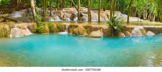 Tat Sae Waterfalls. Beautiful panorama landscape. Luang Prabang. Laos.