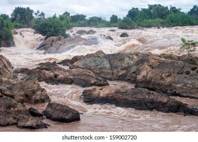 Tat Somphamit (Li Phi falls) on Mekong river, Laos