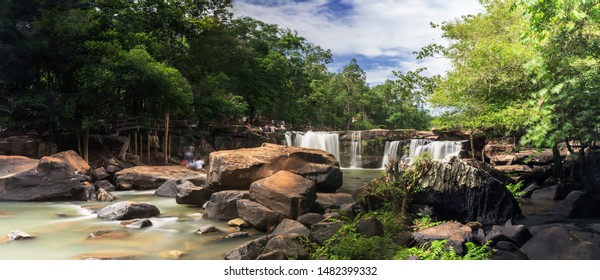 Tat Ton Waterfall is recognized as one of the most beautiful waterfalls in Thailand. Cascade in tropical rainforest with rock, Large cliff and turquoise blue pond at Tat Ton National Park, Chaiyaphum