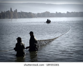 TATA, HUNGARY - 20, OCTOBER, 2012: Fishermen pulling their fishing net ashore as they fishing in a traditional way at the Old lake (Oreg-to) in Tata, Hungary, 20th of October, 2012.