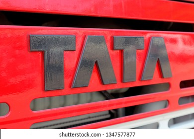 Tata Motors Limited - Largest Indian Automobile Manufacturer. TATA logo on a red fire truck. Mayapur, India, March 22, 2019