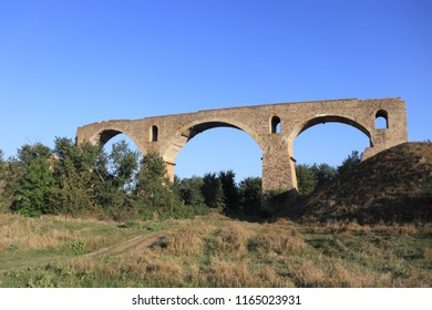 TATARKA, STAVROPOL KRAI / RUSSIA - AUGUST 26 2018: The ruines of German bridge near the Stavropol city. It was built by the Germans