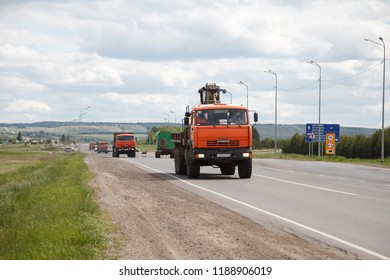 TATARSTAN, RUSSIA - AUGUST 15, 2018:  dump truck KamAZ  at the interurban road.