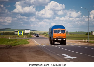 Tatarstan, Russia - June 13, 2017: truck KAMAZ is driving along the highway