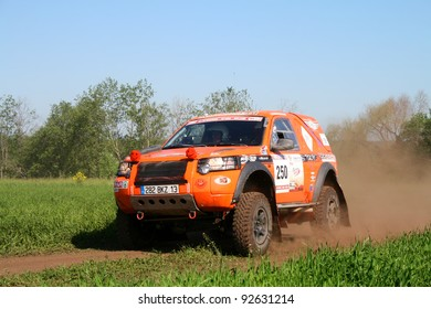 TATARSTAN, RUSSIA - JUNE 15: Bernard Duc's Land Rover Freelander (No. 250) competes at the rally Transorientale 2008 on June 15, 2008 near town of Naberezhnye Chelny, Tatarstan, Russia.