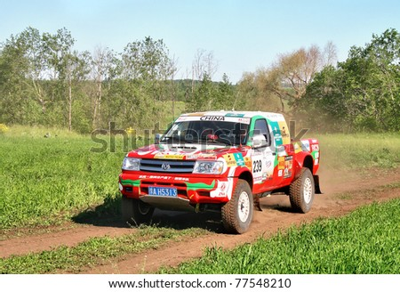 TATARSTAN, RUSSIA - JUNE 15: Driver Xu Lang (Team Dessoude), car model Zhengzhou Dongfeng Oting during Rally Transorientale 2008 on June 15, 2008 near city of Naberezhnye Chelny, Tatarstan, Russia.