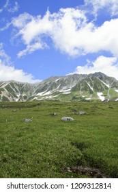 Tateyama mountain range with snow in summer in Toyama, Japan