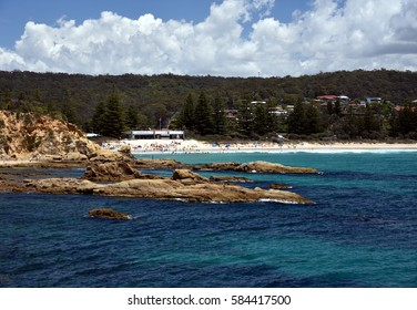 Tathra is a seaside village on the far south coast called the Sapphire Coast in the Bega Valley shire. Views from the rocky headland looking back towards Tathra beach.