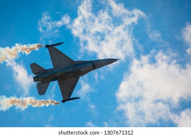 TATOI, ATHENS - SEPTEMBER 28, 2014: Demo F-16 fighter jet during demonstration at the Athens Flying Week 2014 Air Show at Tatoi Airport.