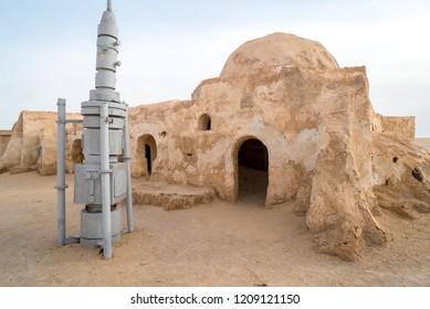 Tatooine planet landscape abandoned sets for shooting Star Wars movie in Sahara desert. Sahara, Tunisia, May 2016