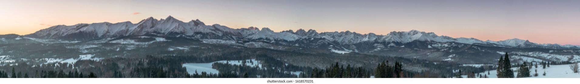 Tatra Mountain panorama in winter scenery from Lapszanka Pass.