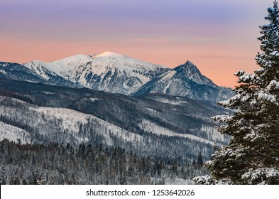 Tatra mountains landscape, winter sunrise over Giewont and Czerwone Wierchy