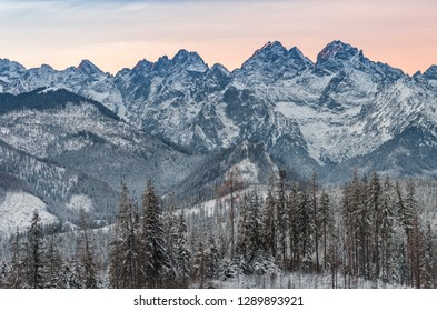 Tatra mountains landscape, winter sunrise over High Tatras