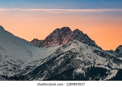 Tatra mountains landscape, winter sunrise over Gerlach