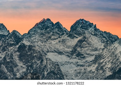 Tatra mountains landscape, winter sunrise over Rysy and Wysoka