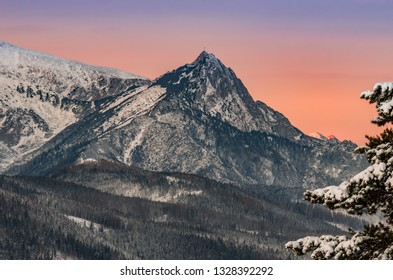Tatra mountains landscape, winter sunrise over Giewont