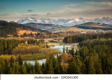 Tatra mountains from nature reserve Bialka River Gorge, Spisz, Poland