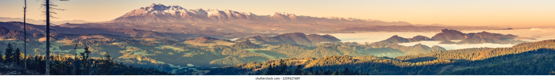 Tatra mountains panorama, autumn sunrise, Poland